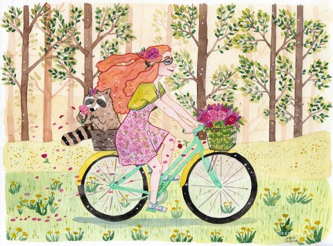 Spring In My Step - Watercolor Illustration by Jean Balogh - Doodlewash