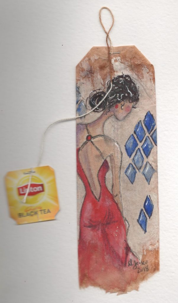 I've started painting on used tea bags and my challenge for myself was to paint a tea bag a da