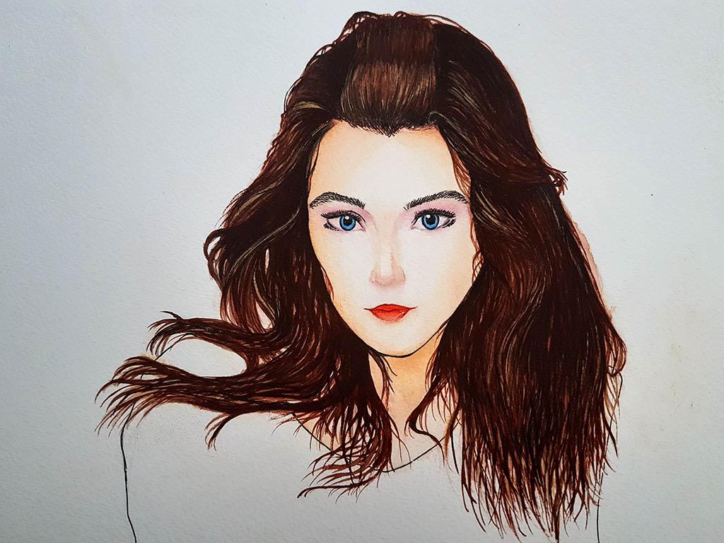 Watercolor Portrait by Naufal Khan