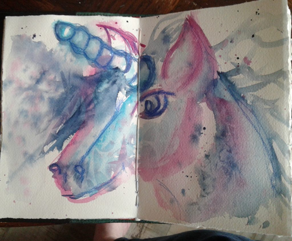 Day 302…unicorns When I was younger I drew a lot of horses and unicorns. Lol, but that was a l