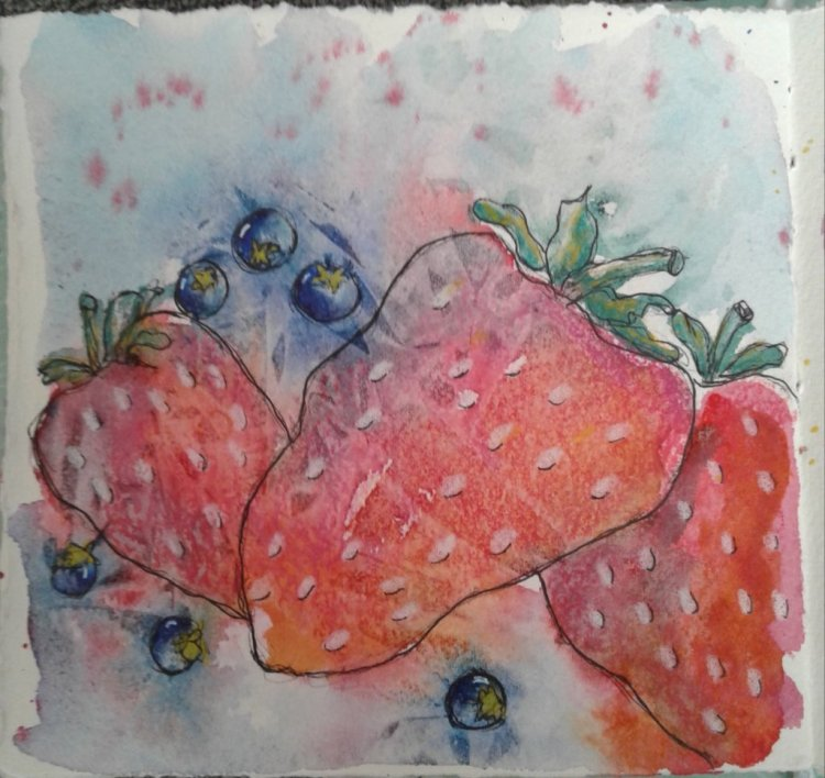Day 322…berries I have painted strawberries before and ended with beautiful red berries. Last