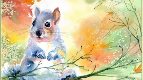 Autumn Squirrel - Watercolor Painting by Patricia Lee Christensen - Doodlewash