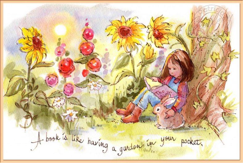 Book Garden - Watercolor Painting by Patricia Lee Christensen - Doodlewash