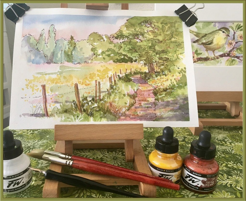 Country Lane Process - Watercolor Painting by Patricia Lee Christensen - Doodlewash