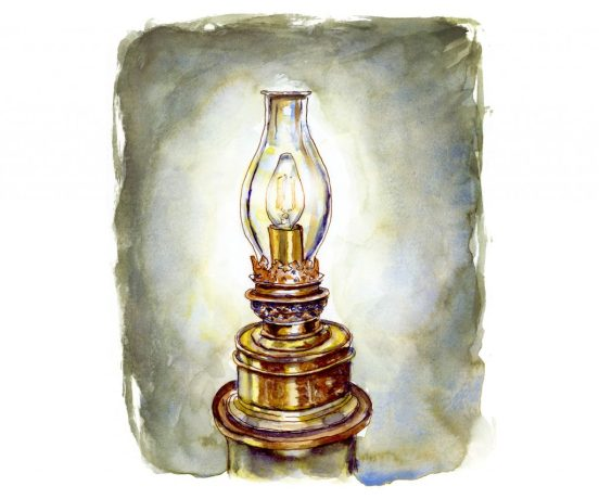 Day 10 - Lighthouse Lamp Watercolor - #doodlewashMay2018 - Doodlewash