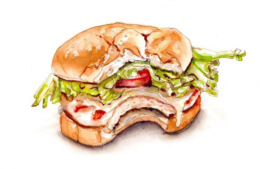 Day 12 - Taking A Big Bite - Sandwich Watercolor #doodlewashMay2018 Doodlewash