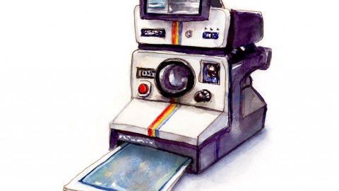 Day 13 - Polaroid Land Camera 1000 Watercolor - Doodlewash