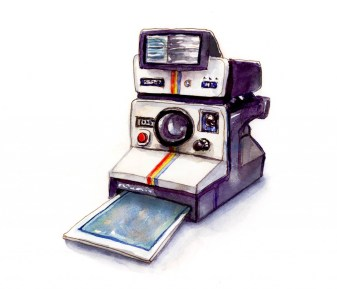 Day 13 - Polaroid Land Camera 1000 Watercolor - Doodlewash