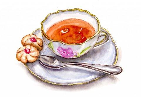 Day 15 - Tea Cookies And Teacup - #doodlewashMay2018 Doodlewash