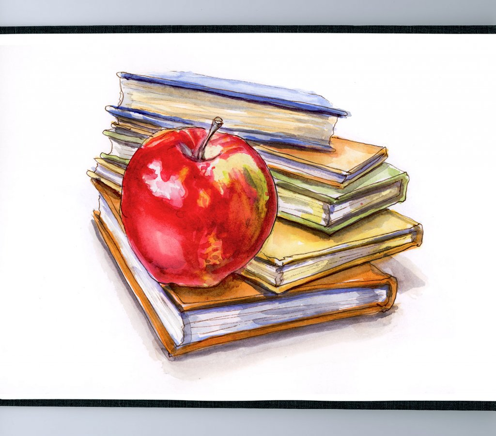 Day 24 - An Apple For The Teacher Watercolor - #doodlewashMay2018 Doodlewash