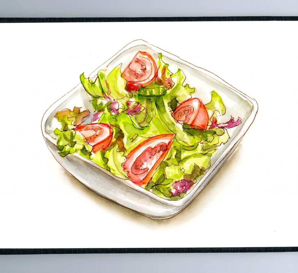 Day 25 - Eating Leaves Again - Salad Watercolor Sketch - #doodlewashMay2018 Doodlewash