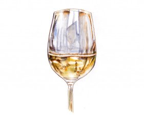 Day 28 - Wine With Dinner - White Wine Glass Watercolor - #doodlewashMay2018 Doodlewash