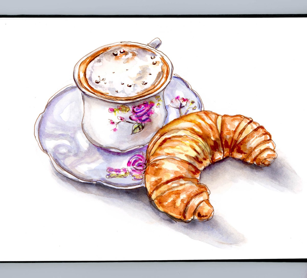 Day 3 - Coffee And Croissant Watercolor_A Lovely Start To The Day - #doodlewashMay2018 Doodlewash