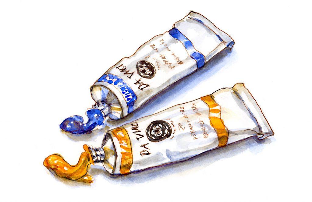 Day 5 - Da Vinci Watercolor Tubes - Cobalt Blue Benzimida Orange #doodlewashMay2018 Doodlewash