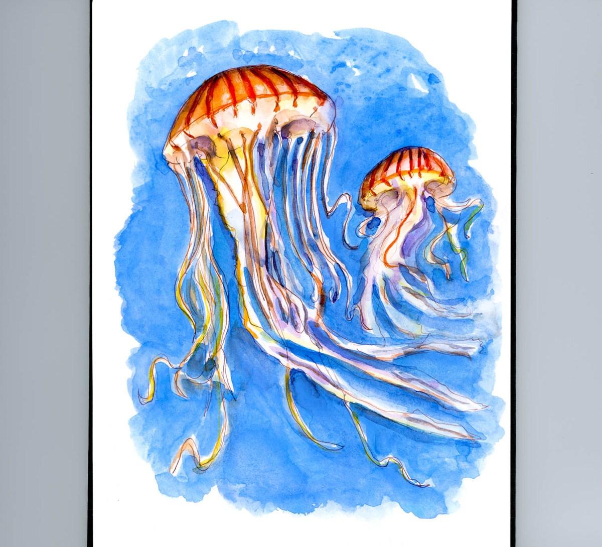 Day 9 - Battling With Jellyfish Watercolor - #doodlewashMay2018 Doodlewash