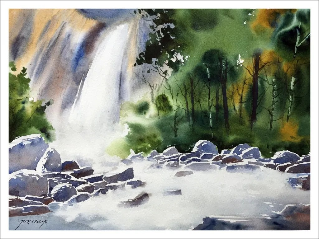 paint a waterfall In Watercolor - Final Painting - Doodlewash