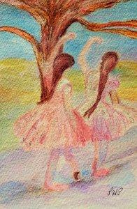 Degas's Dancers in Pink Watercolor