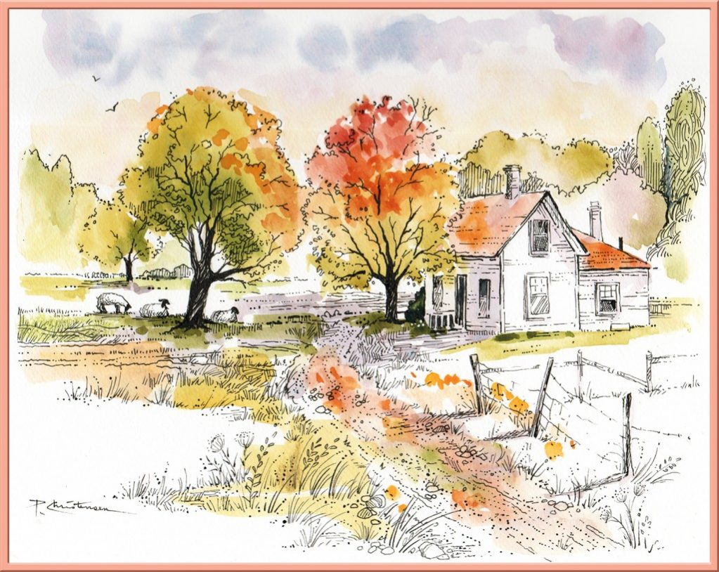 Farm House - Watercolor Painting by Patricia Lee Christensen - Doodlewash