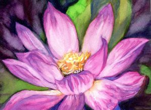 Lotus-Painted with Aquanut handcrafted paints. I'm giving a set of these paints, along with a