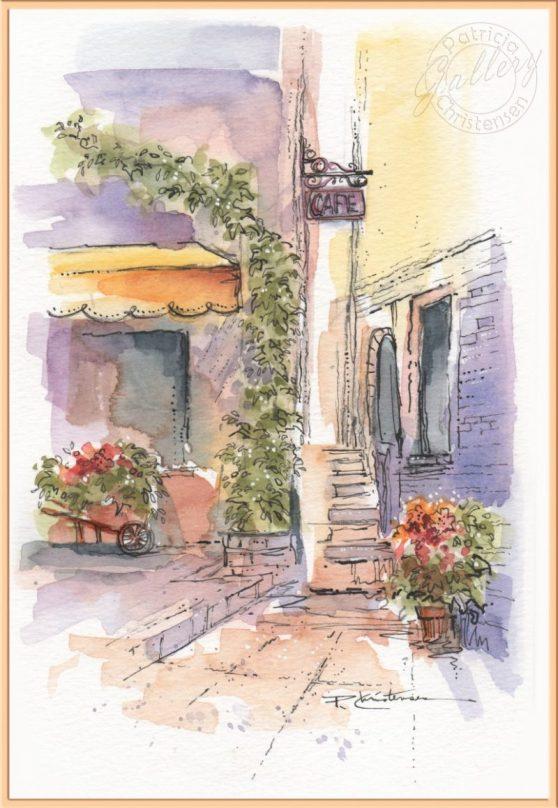 Street Scene - Watercolor Painting by Patricia Lee Christensen - Doodlewash