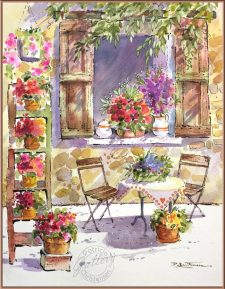 Table - Watercolor Painting by Patricia Lee Christensen - Doodlewash