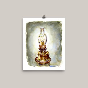 Lighthouse Lamp Watercolor Print