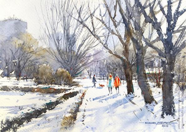 Winter In Bucharest Watercolour Painting by Dhruba Mazumder - Doodlewash.com - #WorldWatercolorGroup