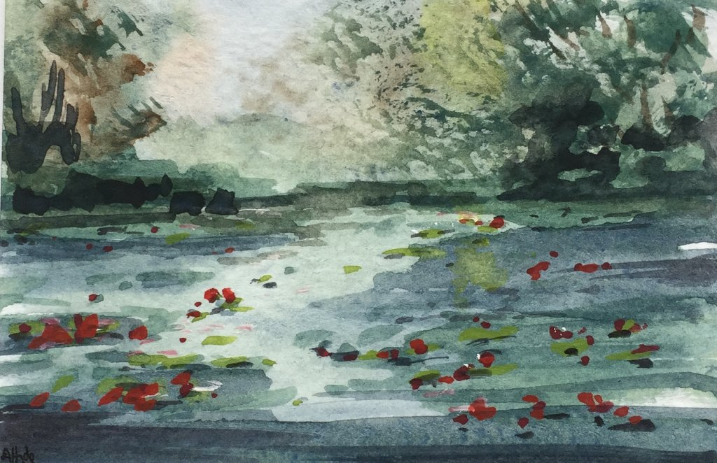 Lily Pond. No painting of a lily pond can be done without reference to the master Monet can it! full