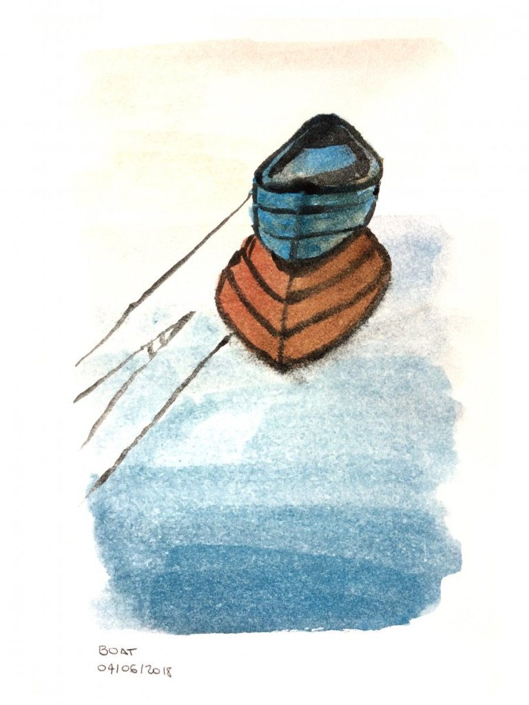 #4 Boat #doodlewashJune2018 #WorldWatercolorGroup 03 June Boats Drawing Edited Photo