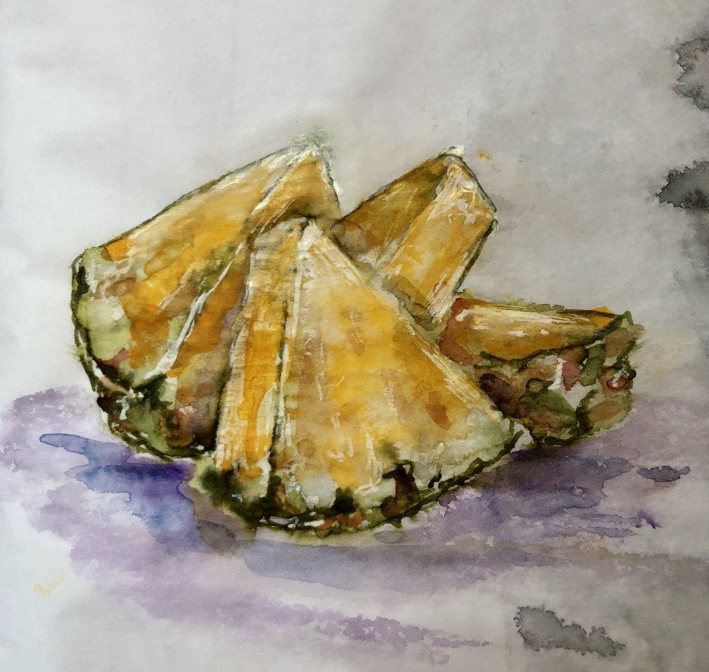 My favorite fruit. Diamine Safari ink and Daniel Smith watercolors on onion skin paper. 07478426-6AC