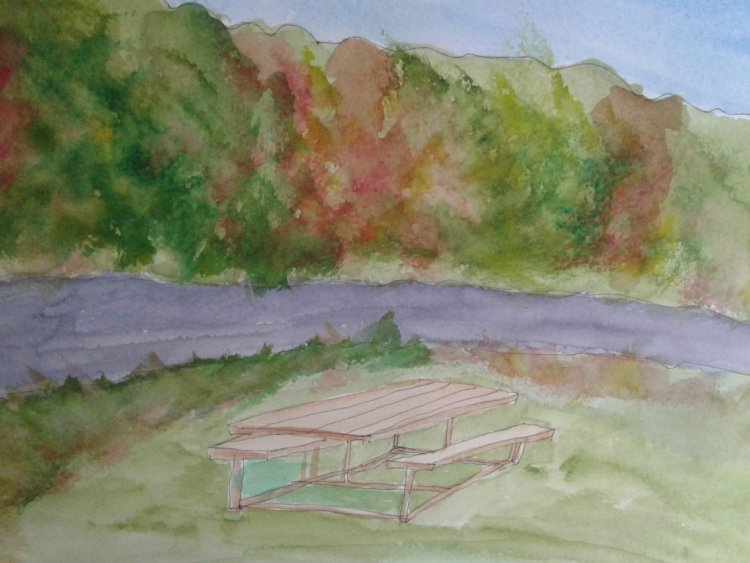 a rather wonky drawn picnic table.. 20180618_172308