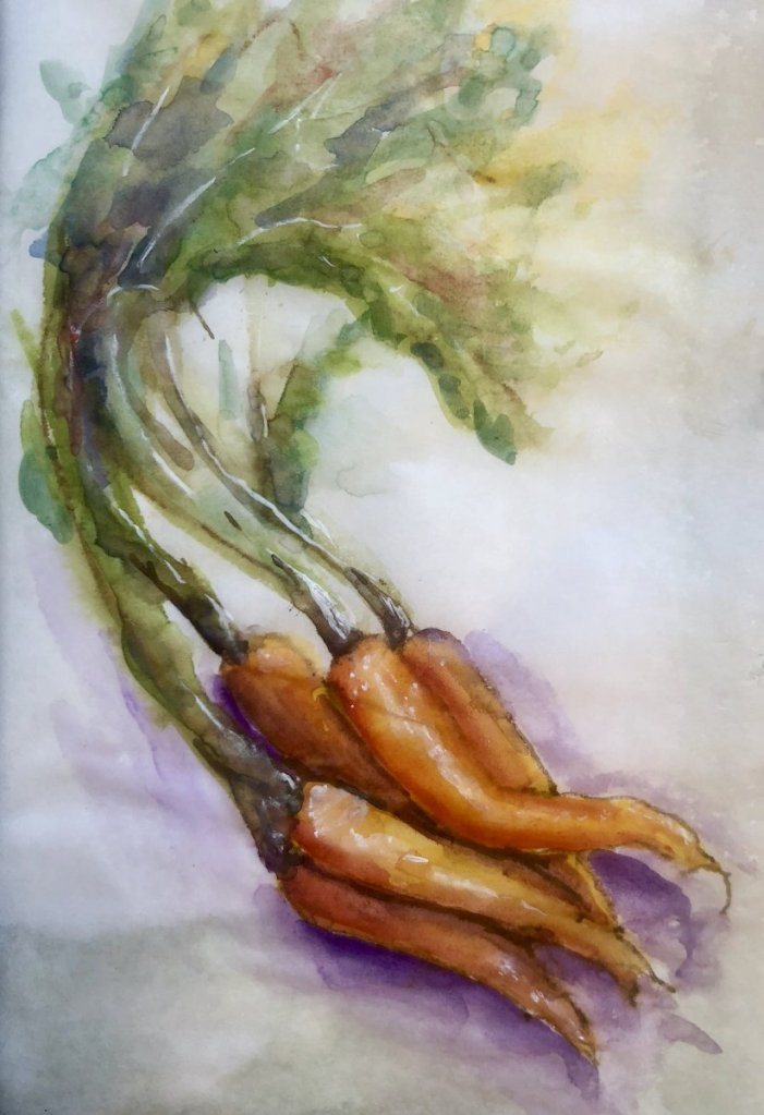 """Ive been given the advice """"to paint people in a landscape, just think of them as carrots: people-c"""