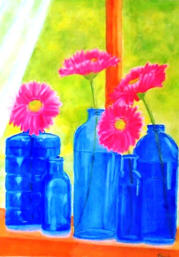 Daisies in Blue 12×16 Bottle Daisies