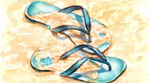 Day 15 - Dreaming Of The Beach Flip Flops - #doodlewashJune2018 Doodlewash