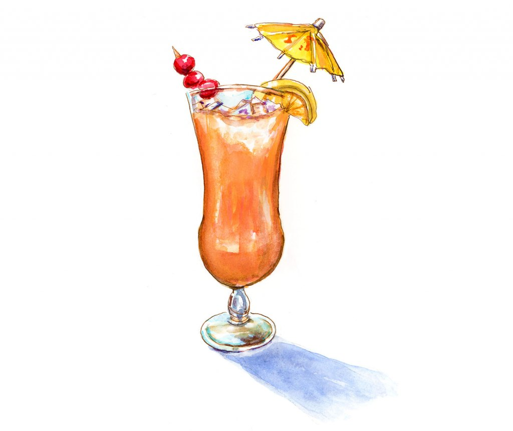 Day 29 - Tropical Drink Watercolor - #doodlewashJune2018 Doodlewash
