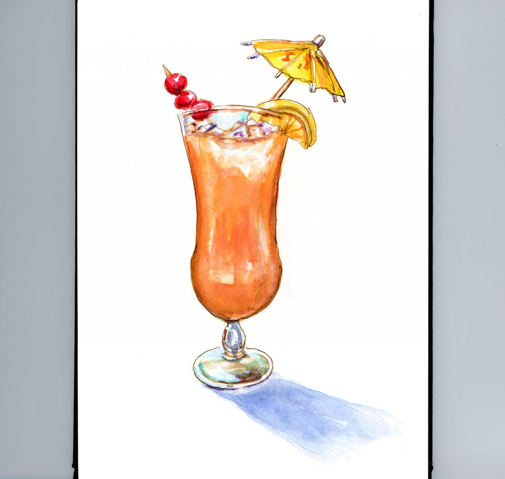Day 29 - Tropical Drink Watercolor - #doodlewashJune2018 Doodlewash