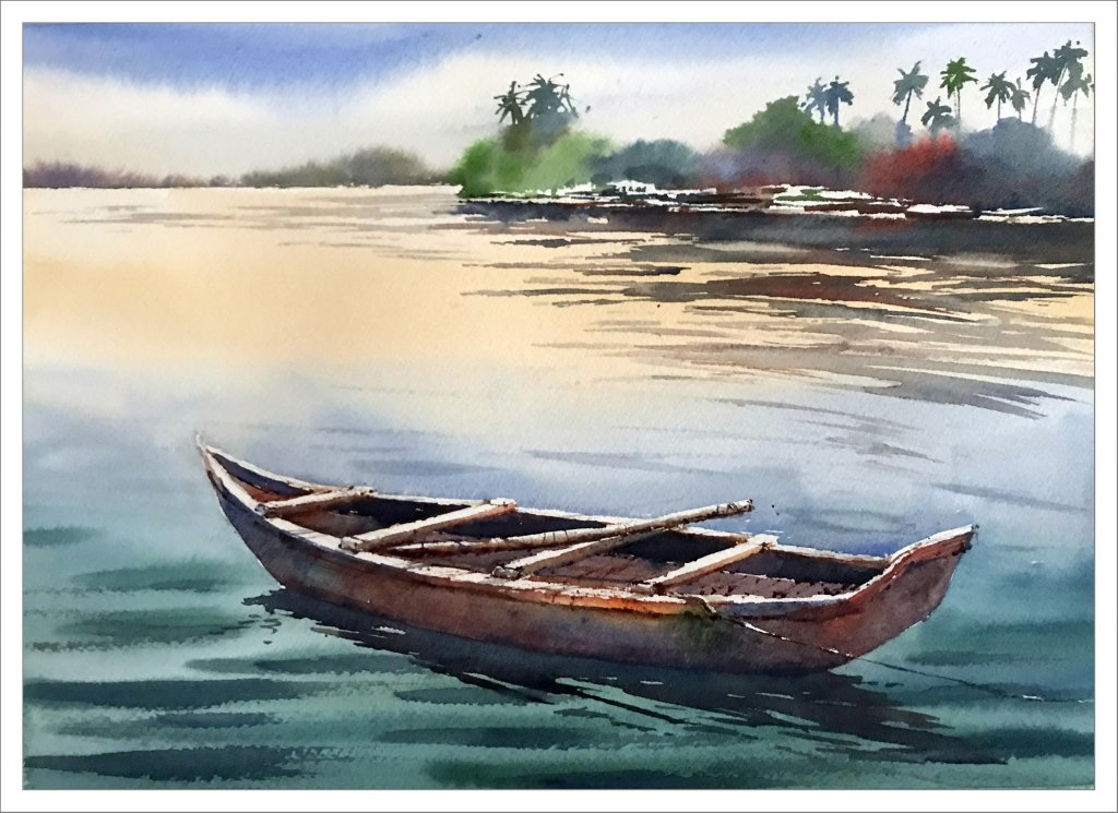 Watercolor Tutorial Painting A Boat And Water Sujit Sudhi - Finished Painting - Doodlewash