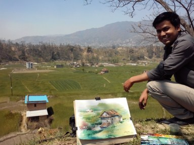 A Plein' Air watercolor painting at Tokha Kathmandu. This painting was created when I was in m