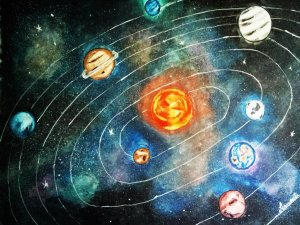"""""""The Solar System"""" #scific #watercolorpainting #galaxypainting #planets #nature #astrono"""