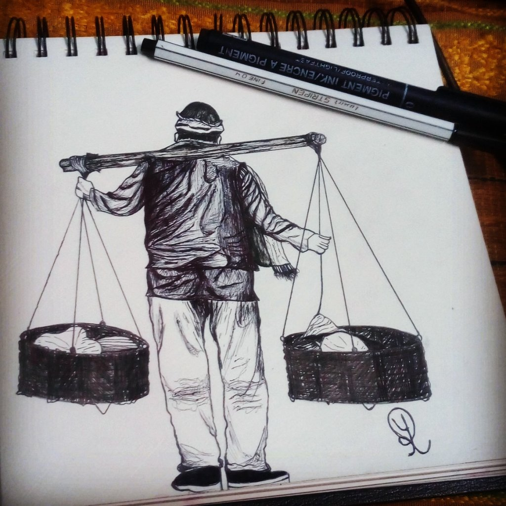 Tittle:- HARDWORKER Medium:- Pen Drawing Most of the poor people work harder and harder for their fa