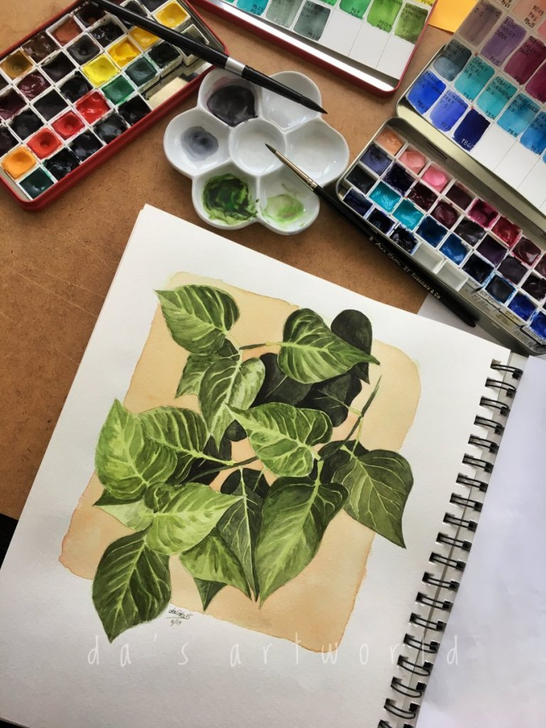 Painting some leaves (I have so many pictures taken of leaves, I better paint some) – Canson M