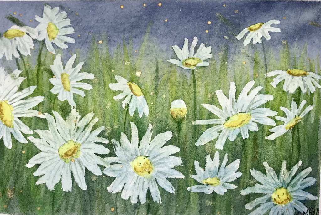 """""""Starlight, Starbright""""… Daniel Smith Watercolors on Arches Journal… 5.5 x 5"""