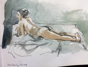 Life Drawing session at Moretonhampstead Parish hall last Monday – the longer (1 hour) poses,