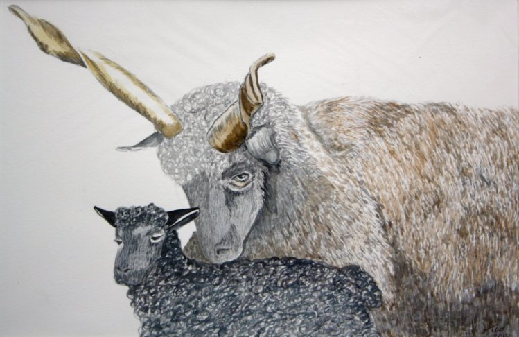 World Watercolor Group™.JUNE Challenge DAY 4 LONG HORNED GOAT ANAD BABY LOVE YOU MUM