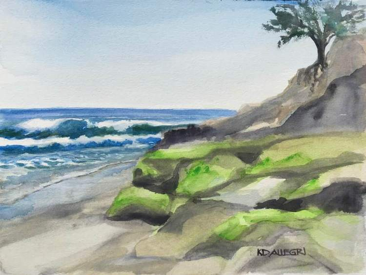 Pleasure Point, Plein Air Watercolor, in Santa Cruz, CA, USA. I used to live up on cliff overlooking
