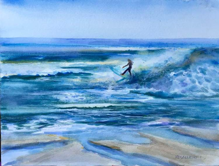 8 June 2018. The Girl Who Loves the Sea 2, Watercolor, Plein Air. I enjoy painting at the beach. My