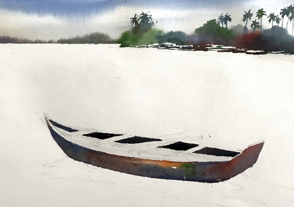 Watercolor Tutorial Painting A Boat And Water Sujit Sudhi - Stage 3 - Doodlewash