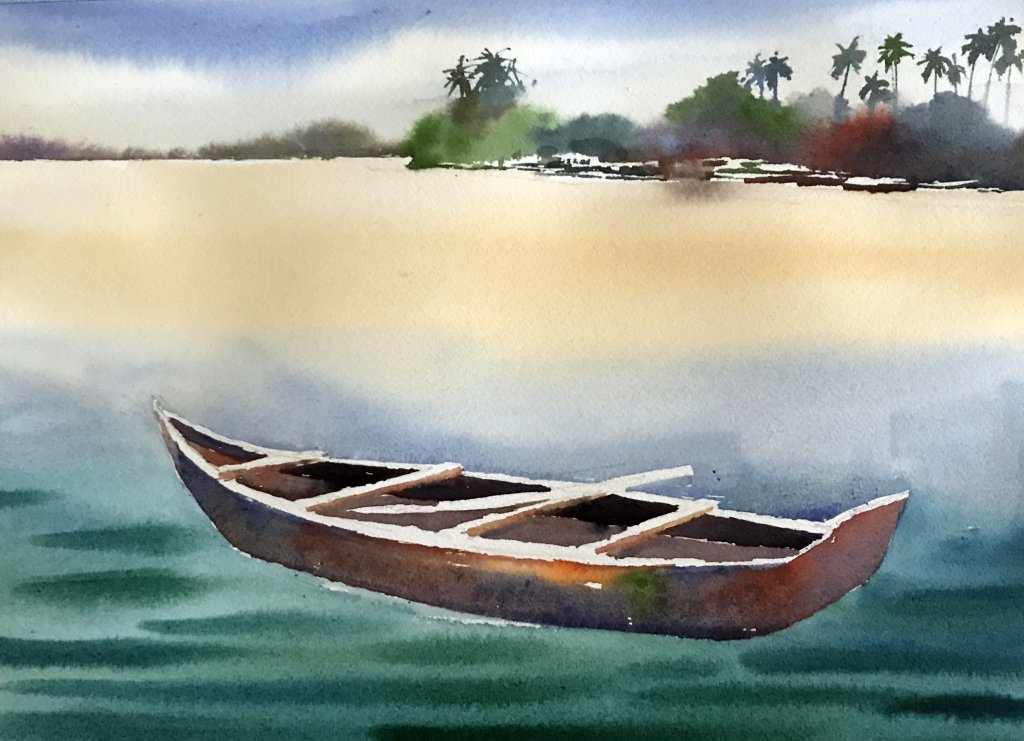 Watercolor Tutorial Painting A Boat And Water Sujit Sudhi - Stage 5 - Doodlewash