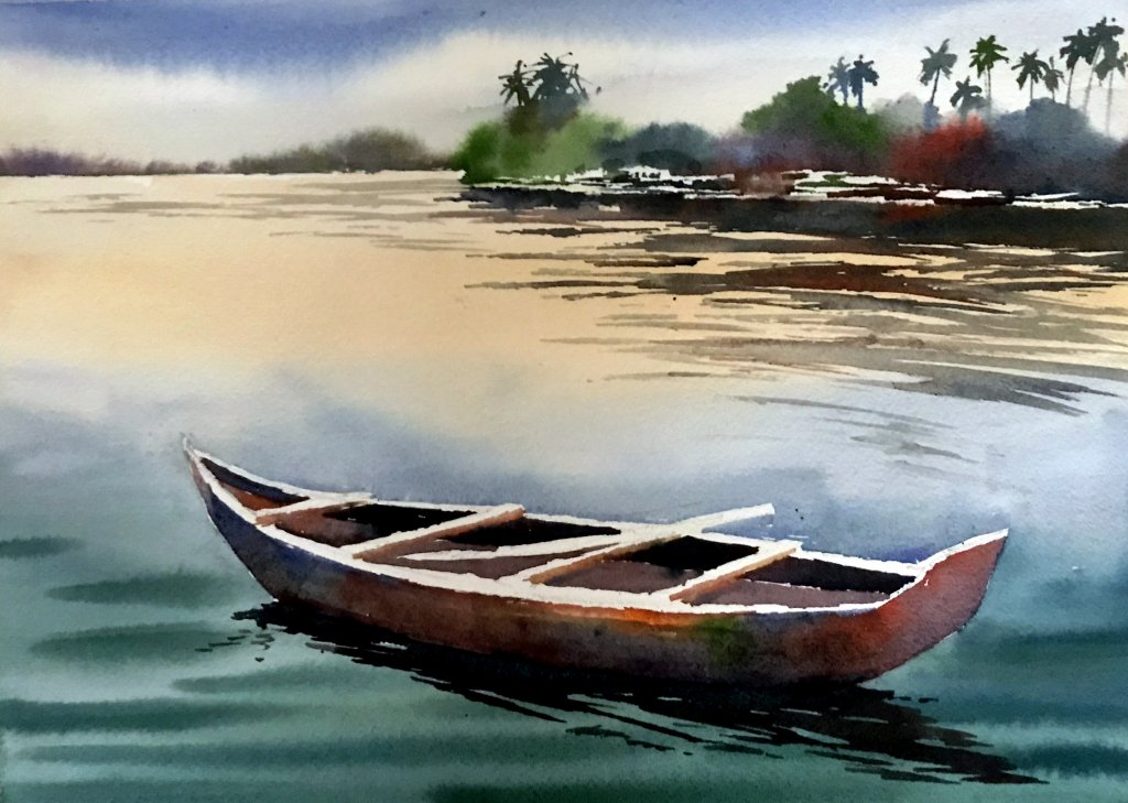 Watercolor Tutorial Painting A Boat And Water Sujit Sudhi - Stage 6 - Doodlewash
