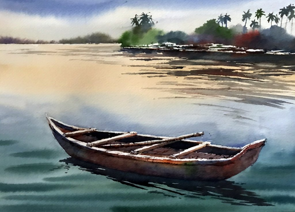Watercolor Tutorial Painting A Boat And Water Sujit Sudhi - Stage 7 - Doodlewash